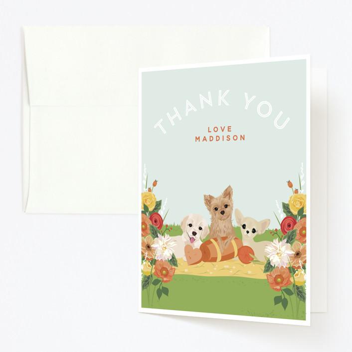 """Pup Tent Party"" - Childrens Birthday Party Thank You Cards in Bubble Gum by Susan Moyal."