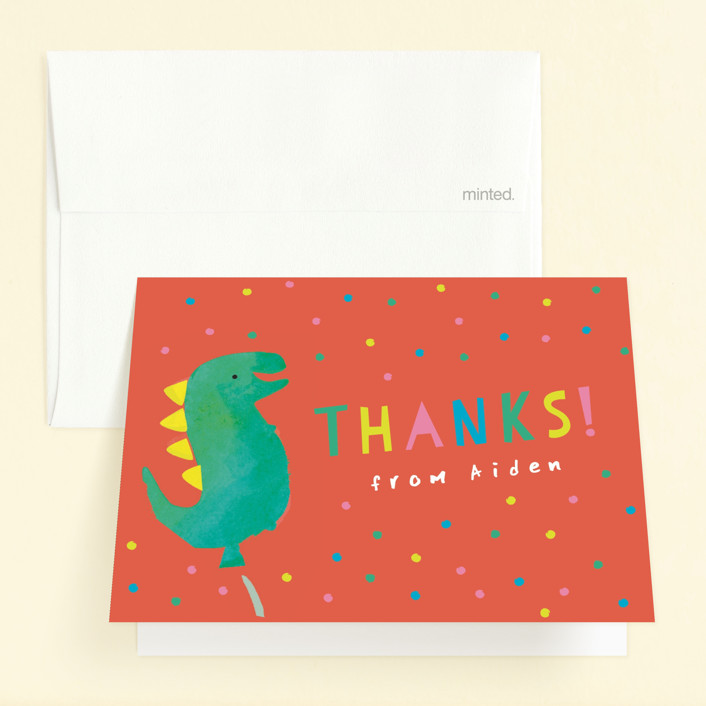 """Dinosaur Balloon"" - Childrens Birthday Party Thank You Cards in Teal by Lori Wemple."