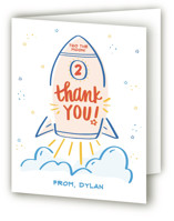 This is a red kids thank you card by Little Print Design called 1, 2, 3 Blast Off! with standard printing on strathmore in standard.