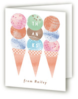 This is a pink kids thank you card by Kanika Mathur called Scoop with standard printing on strathmore in standard.