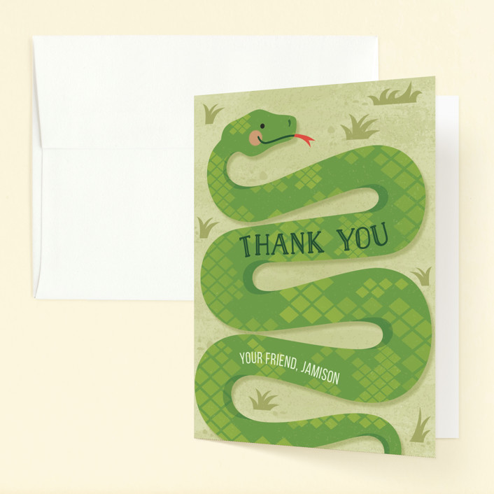"""Slithering Snake"" - Childrens Birthday Party Thank You Cards in Grass by Jessica Ogden."