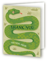 This is a green kids thank you card by Jessica Ogden called Slithering Snake with standard printing on strathmore in standard.
