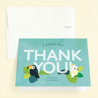 Jungle Birds Childrens Birthday Party Thank You Cards