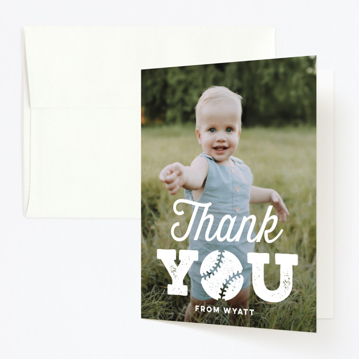 """""""Our Little Rookie"""" - Childrens Birthday Party Thank You Cards in Snow by Jessie Steury."""