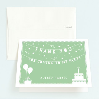 Party Time Banner Childrens Birthday Party Thank You Cards