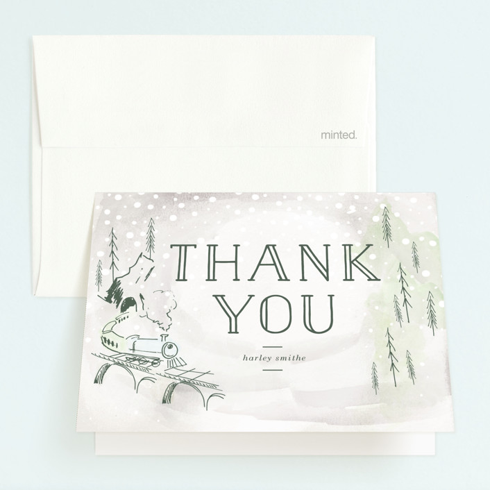 """""""Winter Train"""" - Childrens Birthday Party Thank You Cards in Cinders by Baumbirdy."""