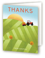 This is a green kids thank you card by Erin German called Down on the Farm with standard printing on strathmore in standard.