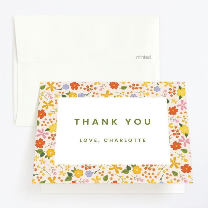 """little wildflower"" - Childrens Birthday Party Thank You Cards in Vibrant by Ellen Schlegelmilch."