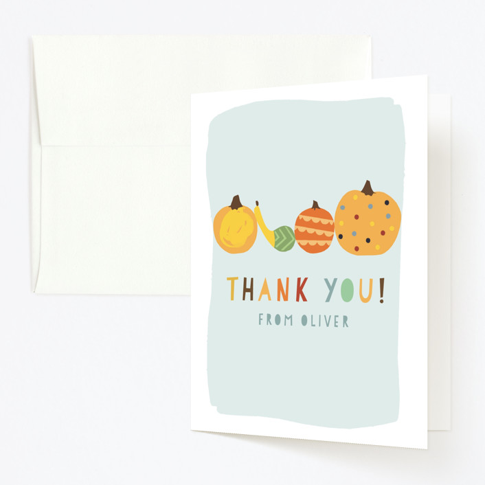 """""""Pumpkin Party"""" - Childrens Birthday Party Thank You Cards in Sky by Michelle Shanaman."""