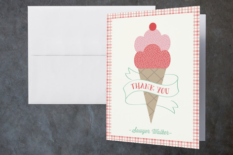 Ice Cream Cart Childrens Birthday Party Thank You Cards
