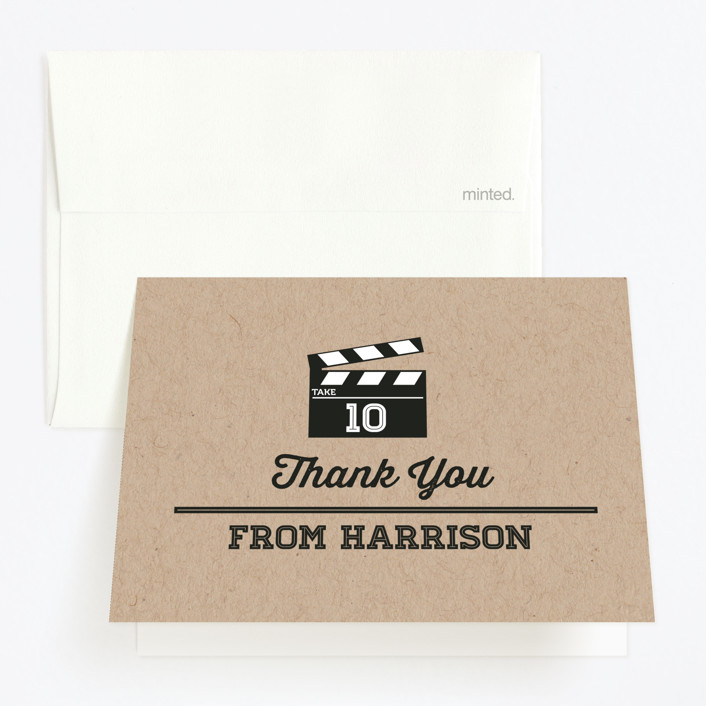 """""""Movie Party"""" - Childrens Birthday Party Thank You Cards in Kraft by Faye Brown."""
