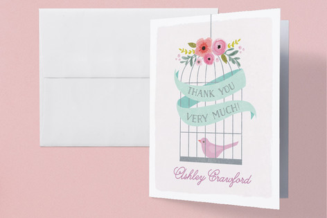 A Little Birdie Childrens Birthday Party Thank You Cards