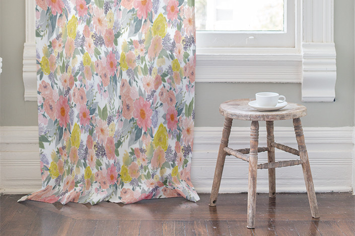Bold Watercolor Floral Curtain By Qing Ji