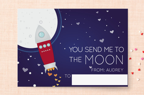 To the Moon Classroom Valentine's Day Cards