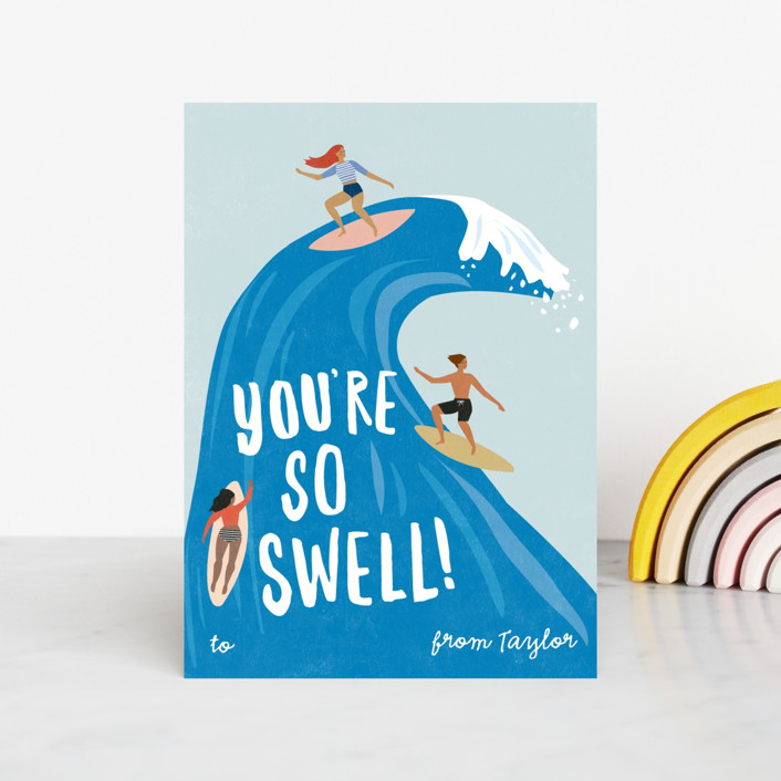 """""""surf swell"""" - Classroom Valentine's Cards in Ocean by Karidy Walker."""