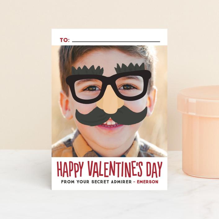 """Secret Admirer"" - Modern, Funny Classroom Valentine's Cards in Merlot by Jessie Steury."