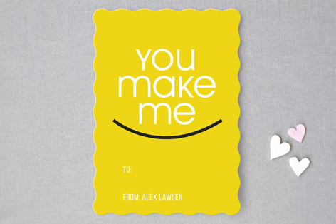 You make me smile Classroom Valentine's Cards