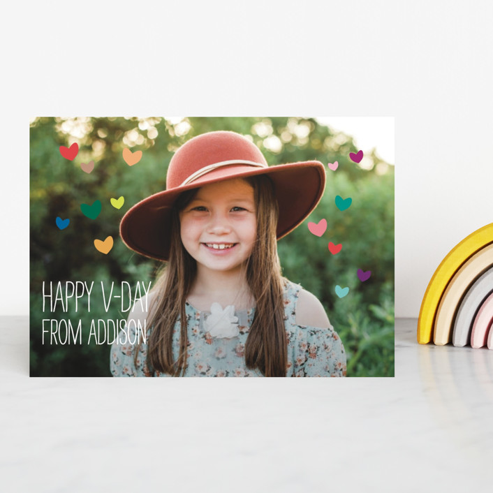 """""""Tiny Hearts"""" - Modern, Simple Classroom Valentine's Cards in Rainbow by Jennifer Walter."""