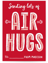 This is a red kids valentines day card by Erica Krystek called Air Hugs with standard printing on signature in standard.