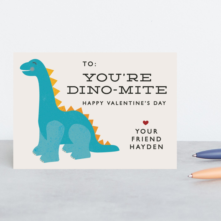 """Dino-mite"" - Classroom Valentine's Cards in Surf by 24th and Dune."
