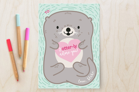 Otterly Adorable Classroom Valentine's Cards