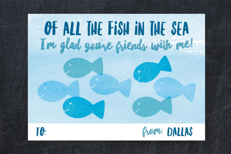Fish In The Sea Classroom Valentine's Cards
