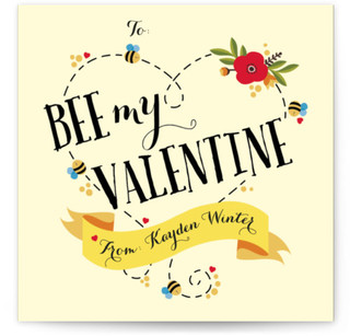 Bee My Valentine Heart Classroom Valentine's Day Cards