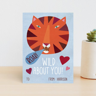 Wild About You Tiger Classroom Valentine's Cards