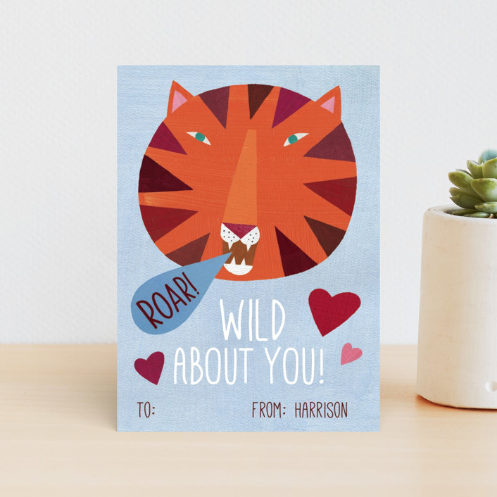 """""""Wild About You Tiger"""" - Classroom Valentine's Cards in Bluebell by melanie mikecz."""