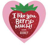 This is a pink kids valentines day card by Laura Bolter Design called Berry Much with standard printing on signature in standard.