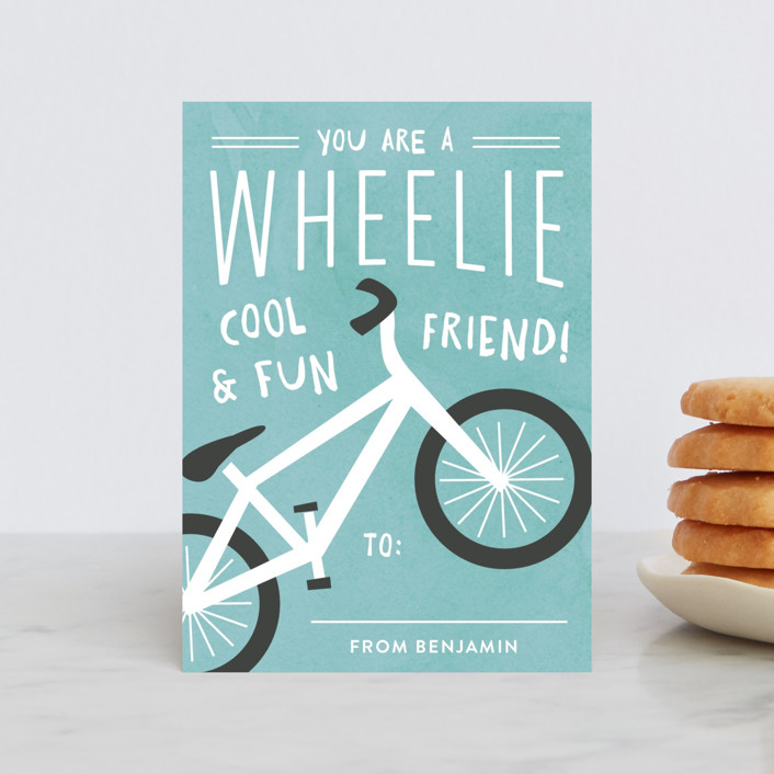 """Wheelie Cool"" - Classroom Valentine's Cards in Sky by Carolyn MacLaren."