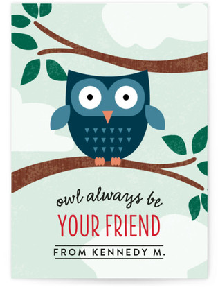 Owl Be Your Friend Classroom Valentine's Day Cards