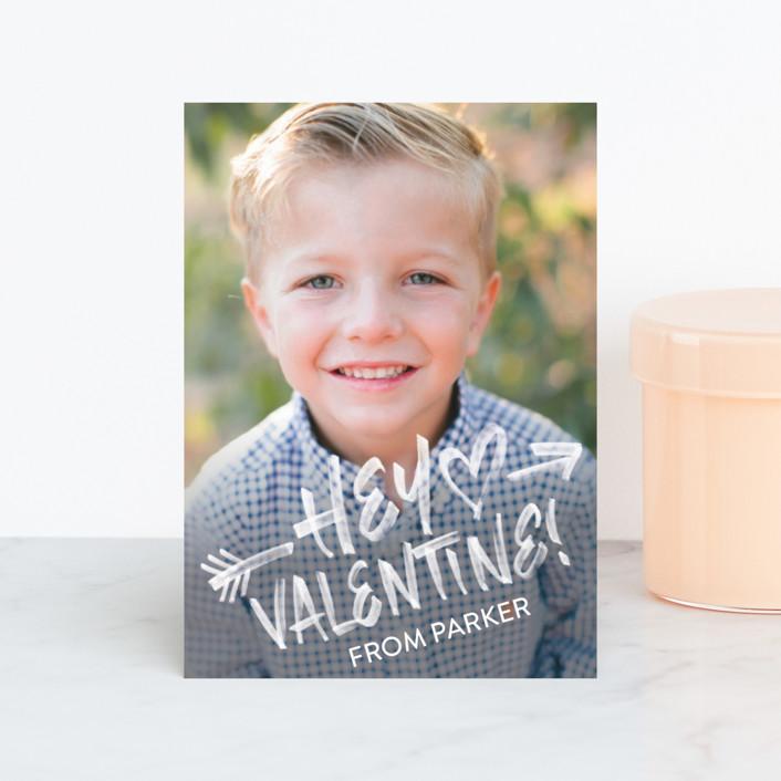 """Hey Valentine"" - Full-Bleed Photo Classroom Valentine's Cards in Chalk by Sam Dubeau."