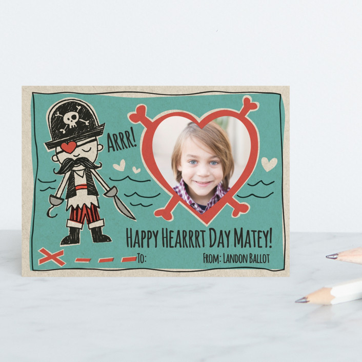 """""""Pirate's Heart"""" - Funny, Hand Drawn Classroom Valentine's Cards in Sea Water by Crystal Manning."""