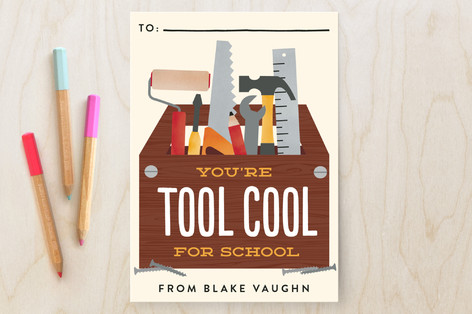 Tool Cool for School Classroom Valentine's Cards