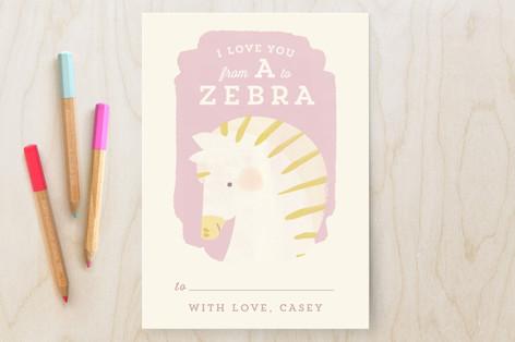 Valentine Zoo Zebra Classroom Valentine's Cards