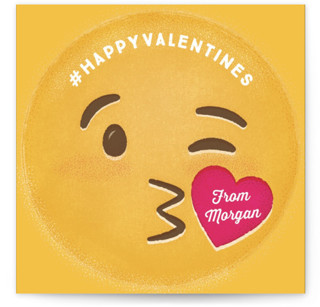 Kiss Emoji Classroom Valentine's Day Cards