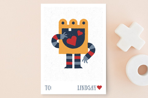 Big Hungry Monster Classroom Valentine's Cards