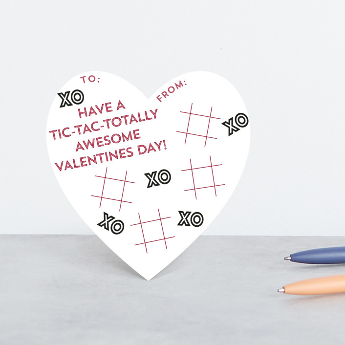 """Tic-Tac-Totally"" - Classroom Valentine's Cards in Peony by Bekah Beckman."
