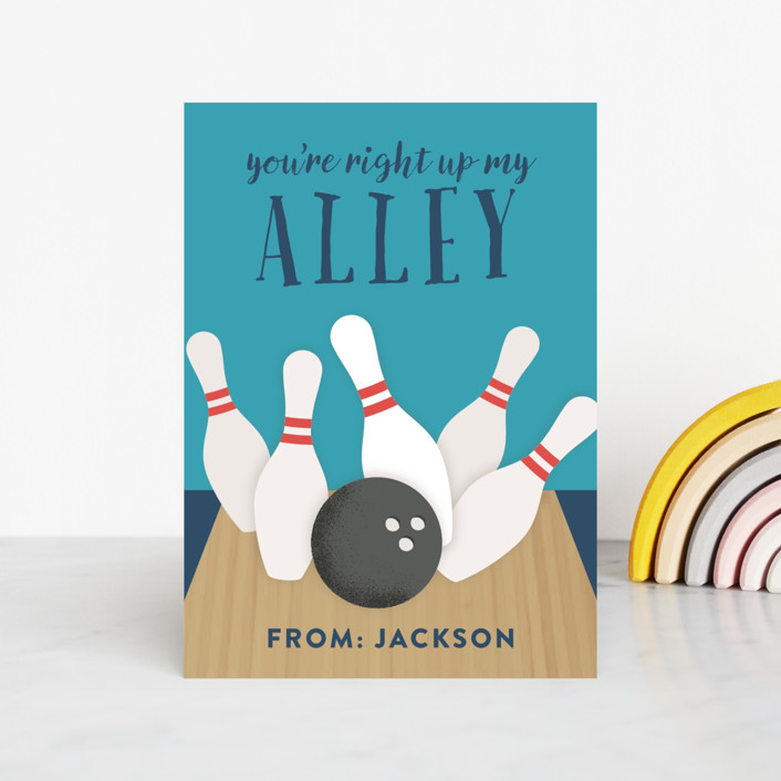 """""""Up my alley"""" - Classroom Valentine's Cards in Pool by Annie Holmquist."""