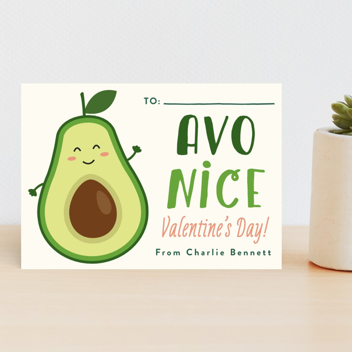 """Avo Nice Day"" - Classroom Valentine's Cards in Cream by Erica Krystek."