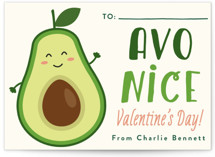 This is a green kids valentines day card by Erica Krystek called Avo Nice Day with standard printing on signature in standard.
