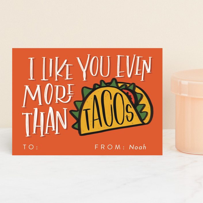"""""""More than Tacos"""" - Classroom Valentine's Cards in Hot Sauce by Erin L. Wilson."""