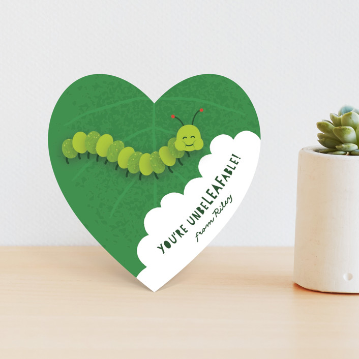 """""""Caterpillar"""" - Classroom Valentine's Cards in Lime by Kacey Kendrick Wagner."""