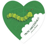 This is a green kids valentines day card by Kacey Kendrick Wagner called Caterpillar with standard printing on signature in standard.