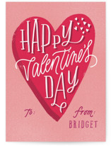 This is a pink kids valentines day card by Erin L. Wilson called Valentine Classic with standard printing on signature in standard.