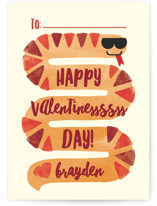 This is a orange kids valentines day card by JeAnna Casper called Cool Snake with standard printing on signature in standard.