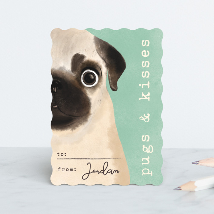 """""""Pugs and kisses"""" - Classroom Valentine's Cards in Mint by Gwen Bedat."""