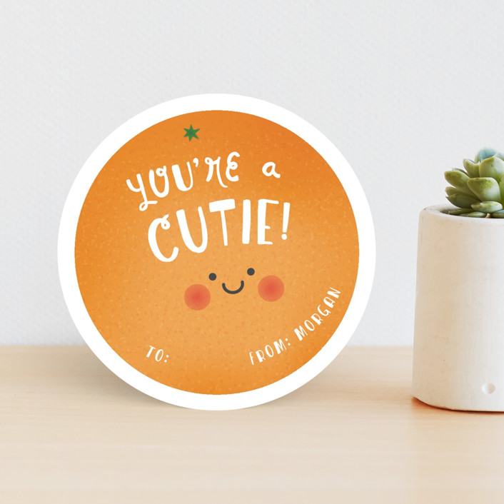 """Hey Cutie"" - Classroom Valentine's Cards in Tangerine by Ink and Letter."