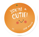 This is a orange kids valentines day card by Ink and Letter called Hey Cutie with standard printing on signature in standard.